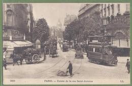 CPA - PARIS - ENTRÉE DE LA RUE SAINT ANTOINE - TRAMWAY A IMPÉRIALE & CHARRETTE DU CHARBONNIER - ES / 2069 - Transport Urbain En Surface