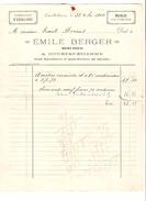 Facture Emile Berger à Court-Saint- Etienne Fabrication D'Escaliers En 1904 PR4492 - Belgique