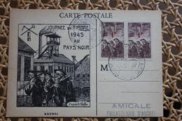 Carte Postale Affranchissement Mineurs Oblitération Journée Du Timbre Auchel 1945 - Postmark Collection (Covers)