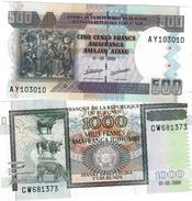 BURUNDI 500 & 1000 FRANCS 2009 P-45a, 46a UNC SET [BI232a, 233a] - Burundi