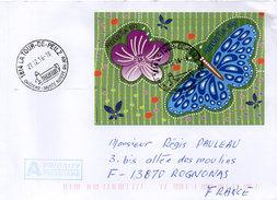 Enveloppe Adressée De LA TOUR DE PEILZ (Suisse) A ROGNONAS (BDRh) Cachet Sur Bloc Feuillet Fleur Et Papillon  (96344) - Schweiz