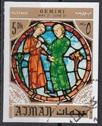 771 Ajman 1971 Segni Zodiaco Gemelli Gemini - Stainled Glass Window Vetrata Notre Dame Imperf. Zodiac - Vetri & Vetrate