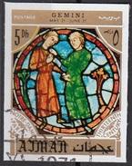 771 Ajman 1971 Segni Zodiaco Gemelli Gemini - Stainled Glass Window Vetrata Notre Dame Imperf. Zodiac - Astrologia