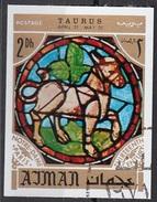 770 Ajman 1971 Segni Zodiaco Toro Taurus - Stainled Glass Window Vetrata Notre Dame Imperf. Zodiac - Astrologia