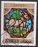 770 Ajman 1971 Segni Zodiaco Toro Taurus - Stainled Glass Window Vetrata Notre Dame Imperf. Zodiac - Vetri & Vetrate