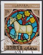 769 Ajman 1971 Segni Zodiaco Ariete Aries - Stainled Glass Window Vetrata Notre Dame Imperf. Zodiac - Vetri & Vetrate