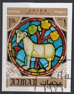 769 Ajman 1971 Segni Zodiaco Ariete Aries - Stainled Glass Window Vetrata Notre Dame Imperf. Zodiac - Astrología