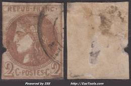 Report I Du 2c Bordeaux Oblitéré à -70€ ! (Y&T N° 40A, Cote 1500€) - 1870 Bordeaux Printing