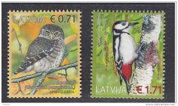 Latvia 2016  Fauna Birds Owl And Woodpecker MNH - Latvia