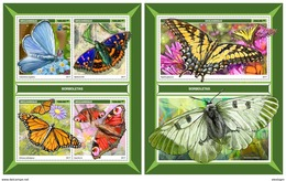 MOZAMBIQUE 2017 - Butterflies. M/S + S/S. Official Issue - Insects