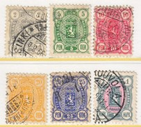 FINLAND  38 - 43      Perf. 12 1/2  (o)   1889-92   Issue - 1856-1917 Russian Government