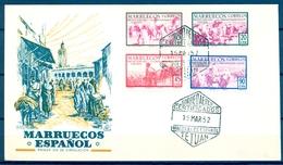 1952 , MARRUECOS ESPAÑOL , TIPOS DIVERSOS , SOBRE DE PRIMER DIA. - Marruecos Español