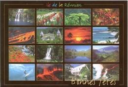 Ile De La Reunion Bonnes Fetes Multivue (16 Vues) Volcan Mer Surf Case Creole...& (5) & Cadre Rouge - La Réunion