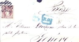 1870 , BARCELONA - GINEBRA , ENVUELTA CIRCULADA , ED. 109 , LLEGADA AL DORSO. - 1868-70 Gobierno Provisional