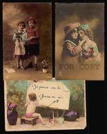 CHILDREN COUPLE ROMANCE RPPC THREE DIFFERENT PHOTO POSTCARDS - Photographs
