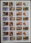 V25 - Ajman 1971 Mi. 1099B-1106B 4 Complete Sets 8v. MNH In FULL SHEET IMPERFORATED, Animal Paintings IMPERF - Ajman