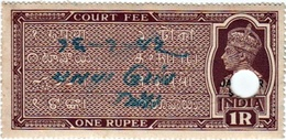 INDIA JASHPUR PRINCELY STATE 1-RUPEES COURT FEE STAMP 1938 GOOD/USED - Inde