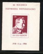 POLAND SOLIDARITY SOLIDARNOSC POCZTA KRAKOW 1984 66TH ANNIV OF POLISH INDEPENDENCE PILSUDSKI RARE MS NOVEMBER 11 1918 - Vignettes Solidarnosc