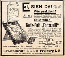 """Original-Werbung/ Anzeige 1902 - NOTIZ - PULT """"FORTSCHRITT"""" - FREIBURG - Ca. 90 X 75 Mm - Publicités"""