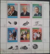 V25 - The Mutawakelite Kingdom Of Yemen 1969 Mi. A890A/F809A Complete SHEET Set 6v. - Apollo 11 Astronauts &Families MNH - Yemen