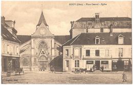 """Dépt 60 - MOUY - Place Cantrel - Église - (Quincaillerie G. Lanctin, """"Restaurant Populaire"""" Tenu Par Denier) - Mouy"""