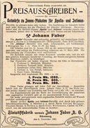 Original-Werbung/ Anzeige 1902 - PREISAUSSCHREIBEN / BLEISTIFTFABRIK JOHANN FABER - NÜRNBERG - Ca. 90 X 125 Mm - Werbung