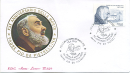 ITALIA - FDC  ROMA LUXOR 1998 - PADRE PIO - ANNULLO SPECIALE SAN GIOVANNI ROTONDO - 6. 1946-.. Republic