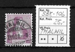 1907 HELVETIA MIT BRUSTBILD → SBK-106, THALWIL 7.VII.08 - Gebraucht