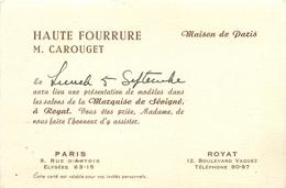"""HAUTE FOURRURE - """"M. CAROUGET"""" - BOULEVARD BAZIN - ROYAT(P.D.D.) - CARTE COMMERCIALE ANCIENNE (8 X 12 Cm) - Royat"""