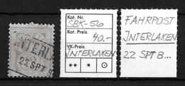 1882-1906 ZIFFERMUSTER → SBK-56, INTERLAKEN 22 SPT. 8...   ►FAHRPOST◄ - 1882-1906 Coat Of Arms, Standing Helvetia & UPU