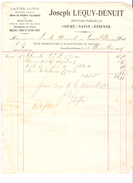 Facture Joseph Lequy-Denuit Entrepreneur à Court-Saint-Etienne En 1909 PR4494 - 1900 – 1949