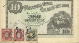 SUEDE  CARTE PUBLICITAIRE JAG GENAST LADE +TIMBRES DE 2 ET 4 PENNY DES ANNEES +-1909  EN DIRECTION DE HUY RUE NEUVE VOIE - Suède