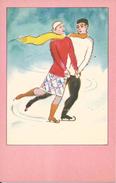 * GRUNEWALD , Illustrateur - Couple Sur Patins à Glace, Patinage. - Altre Illustrazioni
