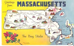 Greetings From Massachusetts  The Bay State Map - Maps