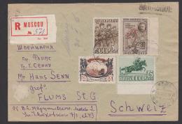 Moscou Moskau Recomande 1947 Nach Flums St. Gallen Schweiz Helvetia, Soldaten Pferde Reitsport