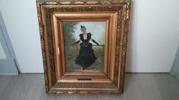 Huile Sur Panneau Portrait D Une Femme De JAN VAN BEERS 1852-1927 - Huiles