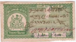 INDIA BIJAWAR PRINCELY STATE 1-ANNA COURT FEE STAMP 1944-48 GOOD/USED - Bijawar