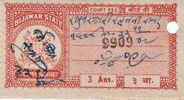 INDIA BIJAWAR PRINCELY STATE 3-ANNAS COURT FEE STAMP 1944-48 GOOD/USED - Bijawar