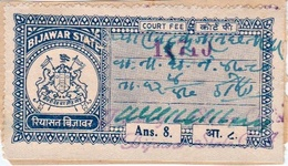 INDIA BIJAWAR PRINCELY STATE 8-ANNAS COURT FEE STAMP 1944-48 GOOD/USED - Bijawar