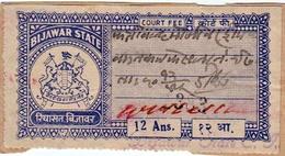 INDIA BIJAWAR PRINCELY STATE 12-ANNAS COURT FEE STAMP 1944-48 GOOD/USED - Bijawar