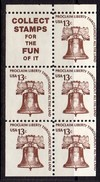 USA 1975-81 Definitives, 13c Liberty Bell Booklet Pane Of 5 + Label, MNH (SG 1586d) - Vereinigte Staaten