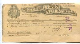Recibo Contribuccion Industrial Del Año 1929 De La Ciudad De Badalona - Otras Colecciones