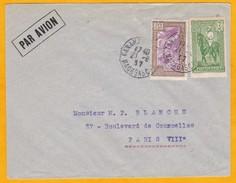 1937 - Enveloppe Par Avion De Tananarive, Madagascar Vers Paris - Affrt 3,65 F - Cad Arrivée Paris Distribution - Madagascar (1889-1960)