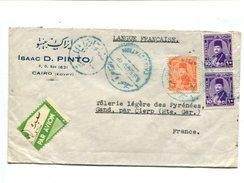 EGYPTE - Affranchissement Oblitéré Cairo Station Pour La France + étiquette Avion - Poste Aérienne