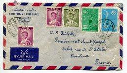 THAILANDE - Affranchissement Pour La France , Enveloppe à En Tête Chotiravi College Paknampho - Thaïlande