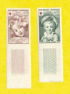 FRANCE - 1962 - NEUFS** LUXE/MNH - Yvert # 1366/1367 Paire CROIX-ROUGE NON DENTELE Bdf - Croix-Rouge