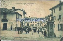 70864 ITALY CASALBORGONE SQUARE VITTORIO EMANUELE II & STREET REGINA MARGHERITA BREAK POSTAL POSTCARD - Italie
