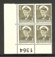 001190 Greenland 1950 1o Plate 1364 Block MNH - Blocks & Sheetlets