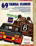 X 69 TARGA FLORIO 1985 RALLYE INT.LE  TABELLA TEMPI E DISTANZE 12 PAG. - Car Racing - F1