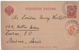 Russie Entier Postal Pour L'Angleterre 1903 - Briefe U. Dokumente